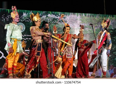 HYDERABAD,AP,INDIA-JULY 23:Pilli Mukundam group performs gaja gowri vratam a chindu yaksha ganam during week long chindu festival organised by state government on July 23,2012 in Hyderabad,India.