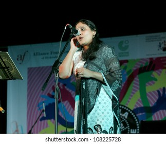 HYDERABAD,AP,INDIA-JUNE 21:Mani Performs indian fusion vocal at Alliance Francaise, Goethe Zentrum and HwM foundation World Music Day celebrations on June 21,2012 in Hyderabad,Ap,India.