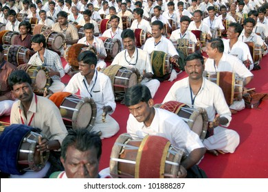 HYDERABAD,AP,INDIA-MAY 06:Around 3,500 artists perform on 604 birth anniversary of Annamacharya clebrations ,Mangala Vadya Sammelanam,with traditional instruments on May 06,2012 in Hyderabad,Ap,India.