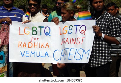 HYDERABAD,FEBRUARY 19: LGBT activists display banner with tier demands during Queer Swabhimana Yatra 2017 or march on February 19,2017 in Hyderabad,India
