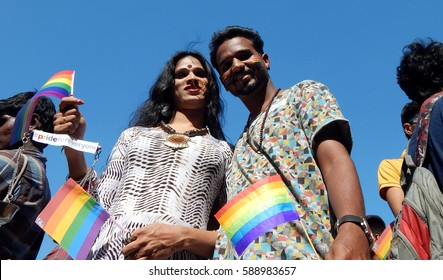 HYDERABAD,FEBRUARY 19: LGBT activists shout slogans and pose with flag demanding equality in Queer Swabhimana Yatra 2017 on February 19,2017 in Hyderabad,India