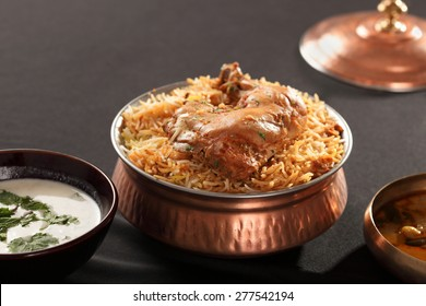 Hyderabadi Biryani is most well-known Non-Vegetarian culinary delights from the famous Hyderabad Cuisine. It is a traditional dish made using Basmati rice, goat meat and various other exotic spices.