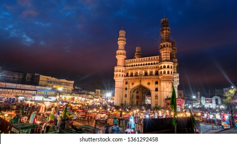 HYDERABAD,INDIA -December 26 Charminar in Hyderabad on December 26,2018, Is listed among the most recognized structures in India, Built in 1591