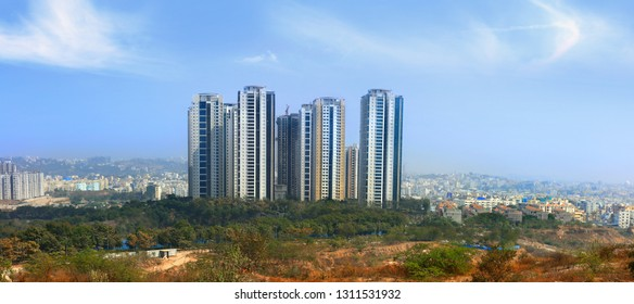 HYDERABAD,INDIA -JANUARY 12th 2019 : Lanco hills is Hyderabad cities  tallest apartment complex
