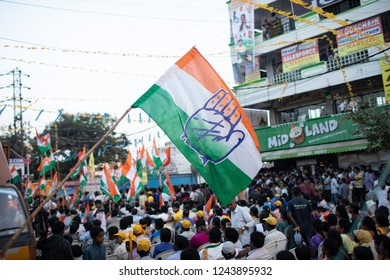 Hyderabad,India.28th November,2018. Supporters of Congress hold party flag during a road show of Andhra Pradesh Chief Minister N Chandrababu Naidu and Congress President Rahul Gandhi in Hyderabad.