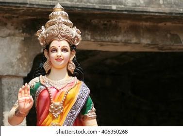 HYDERABAD,INDIA-APRIL 15:Idol of hindu goddess sita  on lorry in procession on sri rama navami cebrations on April 15,2016 in Hyderabad,India.