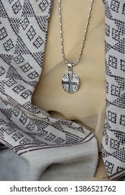 HYDERABAD,INDIA-APRIL 19:View of an Indian woman christian wearing cross as locket of necklace on April 19,2019 in Hyderabad,India