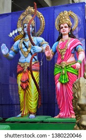 HYDERABAD,INDIA-APRIL 19:Wall art of  of Hindu God Rama and consort goddess Sita idols in  a temple on April 19,2019 in Hyderabad,India