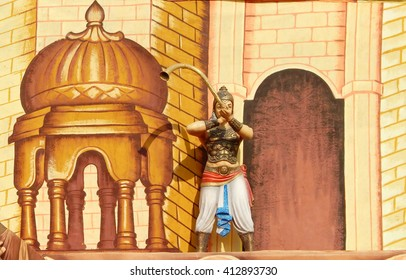 HYDERABAD,-INDIA-APRIL 28:Entrance of temporary fun and fair exhibition  with ancient characters and fort like decoration on April 28,2016 in Hyderabad,India.
