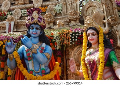 HYDERABAD,INDIA-APRIL 3:People install Idols of Hindu gods Krishna and Radha  in a pandal on the Hanuman Jayanti day on April 3,2015 in Hyderabad,India.