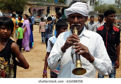 HYDERABAD,INDIA-APRIL 5:Hindu senior man plays shehnai or nadaswaram in Sri Rama and Sita  templeon Sri Rama Navami festival on April 5,2017 in Hyderabad,India