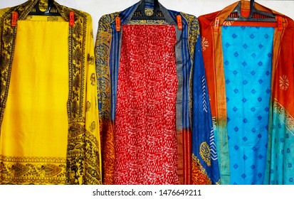 HYDERABAD,INDIA-AUGUST 08:View of  Indian woman latest fashion hand loom made salwar kameez dress  in display of a retail shop on August 08,2019 in Hyderabad,India