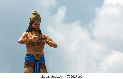 HYDERABAD,INDIA-AUGUST 22:51 Feet Long Hindu God Hanuman statue in Akashpuri Temple, at Dhoolpeta  on August 22,2017 in Hyderabad,India