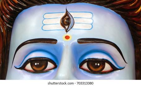 HYDERABAD,INDIA-AUGUST 24:Third eye of Hindu God Shiva statue during  63th year vinayaka chavithi celebrations in Khairatabad on August 24,2017 in Hyderabad,India