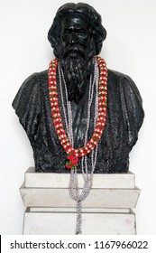 HYDERABAD,INDIA-AUGUST 29:Closeup of Statue of Indian Nobel laureate,  Rabindranath Tagore,for literature  on August 29,2018 in Hyderabad,India