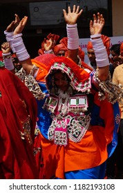 HYDERABAD,INDIA-AUGUST 29:Indian  tribal lambadi women with  traditional  head dress,silver jewelry dance in Kajal Teej Monsoon Festival on August 29,2018 in Hyderabad
