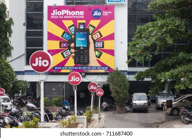 HYDERABAD,INDIA-AUGUST 30,2017 Reliance JIO office building in Hyderabad,India. Reliance JIO is the largest 4G network in India