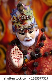 HYDERABAD,INDIA-DECEMBER 10: Closeup view of Indian Hindu god Shiridi Sai Baba in blessing with hand pose in a temple on December 10,2018 in Hyderabad,India