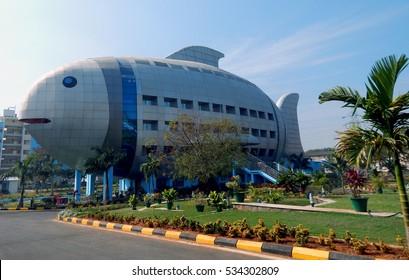 HYDERABAD,INDIA-DECEMBER 12:Fish shaped architecture of a building on December 12,2016 in Hyderabad,India