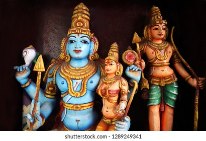 HYDERABAD,INDIA-JANUARY 11:wall art of Indian Hindu god Rama, Sita,and lakshmana   decoration  in a temple  on January 11,2019 in Hyderabad,India