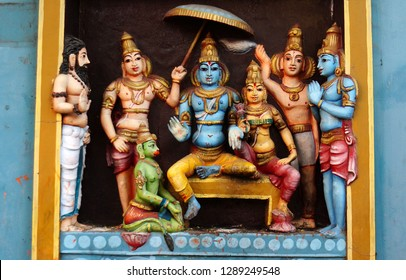 HYDERABAD,INDIA-JANUARY 11:wall art of Indian Hindu god Rama, Sita,Hanuman and lakshmana   decoration  in a temple  on January 11,2019 in Hyderabad,India