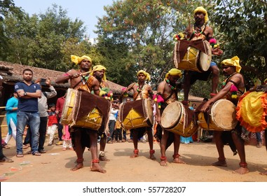 HYDERABAD,INDIA-JANUARY 14:Artists perform Dollu kunitha or drum dance a south indian Hindu tradition in Makara sankranti festival on January,14,2017 in Hyderabad,India.