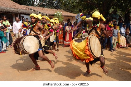 Hyderabadindiajanuary 14 artists perform dollu kunitha drum stock.
