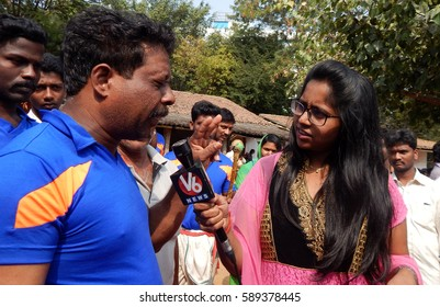 HYDERABAD,INDIA-JANUARY 14:TV reporter interview kerala martial artist during demonstration  in Makara sankranti festival,  on January,14,2017 in Hyderabad,India.