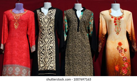 HYDERABAD,INDIA-JANUARY 18:Indian latest fashion salwar kameez in display in a roadside shop in a busy market place on January 18,2018 in Hyderabad,India