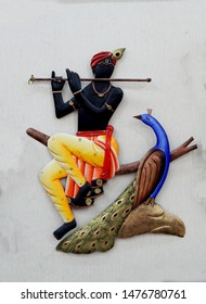 HYDERABAD,INDIA-JANUARY 19: Indian Hindu god Sri krihna,metal work shape, playing bansuri,wind blowing musical instrument, on January 19,2019 in Hyderabad,India