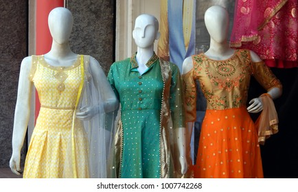 HYDERABAD,INDIA-JANUARY 20:Mannequin dressed inIndian fashion salwar kameez in display in a roadside shop in a busy market place on January 20,2018 in Hyderabad,India