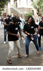 HYDERABAD,INDIA-JANUARY 26:Indian girls and boys perform flash mob or flash-mob dance in Hyderabad Literary Festival 2019 on January 26,2019 in Hyderabad,India