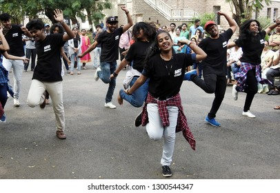 HYDERABAD,INDIA-JANUARY 29:Indian girls and boys perform flash mob or flash-mob dance in Hyderabad Literary Festival 2019 on January 26,2019 in Hyderabad,India