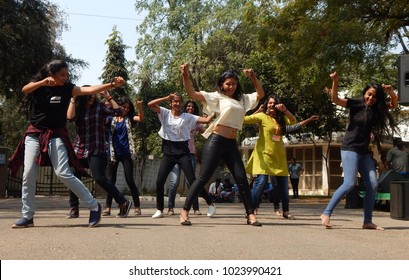 HYDERABAD,INDIA-JANUARY 29:Indian girls perform flash mob or flash-mob dance in Hyderabad Literary Festival 2018 on January 29,2018 in Hyderabad,India