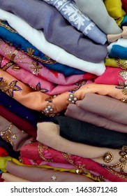 HYDERABAD,INDIA-JULY 20:Closeup of Indian woman fashion dress salwar kameez stacked in display of a retail shop on July 20,2019 in Hyderabad,India