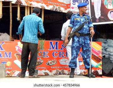 HYDERABAD,INDIA-JULY 24:Indian rapid action force police keep watch on law and order situation during Bonalu hindu festival at temple on July 24,2016 in Hyderabad,India