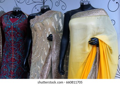 HYDERABAD,INDIA-JUNE 01:Mannequins dressed in Indian sarees or saris kept in front of retail shop or stores in the old city market on June 01,2017 in Hyderabad,India