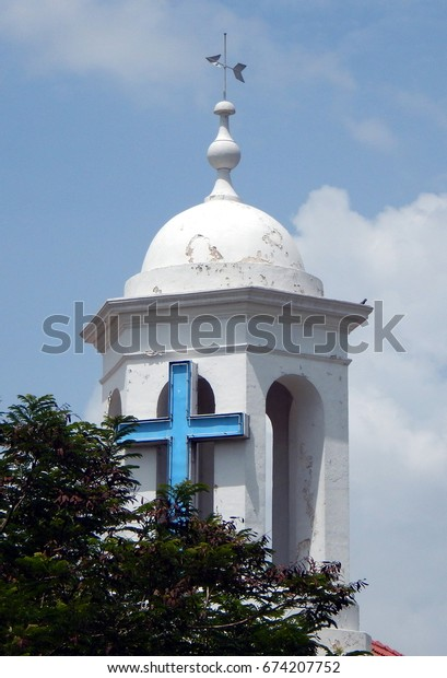 HYDERABAD,INDIA-JUNE 25:Holy cross on St John the Baptist Church, of Church of South India, Medak Diocese, dedicated in 1813 on June 25 ,2017 in Hyderabad,India