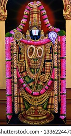 HYDERABAD,INDIA-MARCH 1: closeup view of Indian Hindu god lord balaji or venkatewara in a temple on March 1,2019 in Hyderabad,India