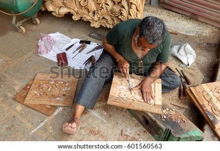 Hyderabadindiamarch 15 Indian Wooden Carving Carpenter Stock Photo