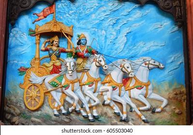 HYDERABAD,INDIA-MARCH 19:Wall art of Krishna as charioteer and Arjuna as warrior in Mahabharata war  in Hindu epic in Ramkrishna math on March 19,2017 in Hyderabad,India