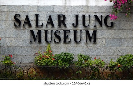 HYDERABAD,INDIA-MARCH 20:Entrance   of Indian National art museum with collection of Salar Jung family, one of the largest in world with one-man collection of antiques on March 20,2018 in Hyderabad