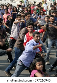 HYDERABAD,INDIA-MARCH 27:Indian young people dancing on open road event on Sunday morning, raahgiri celebrating World  theatre day on March 27,2016 in Hyderabad,India.