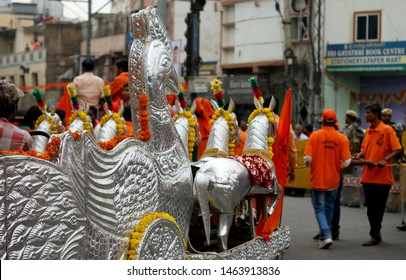 HYDERABAD,INDIA-MARCH 31:Indian people take Hindu God Hanuman, on chariot,in Shoba yatra or procession on Hanuman jayanti festival on March 31,2018 in Hydeabad,India