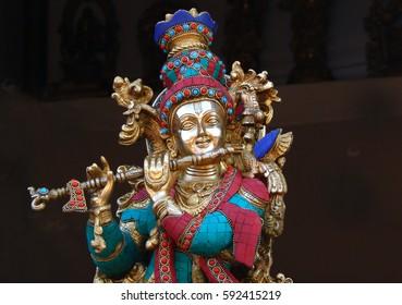 HYDERABAD,INDIA-MARCH 3:Hindu God Sri Krisna metal art work display  in Shilparamam on March 3,2017 in Hyderabad,India