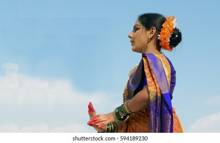 HYDERABAD,INDIA-MARCH 5:Indian woman perform to demonstrate Lavani Dance,Maharashtra art form,  on International women day on March 5,2017 in Hyderabad,India