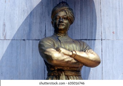 HYDERABAD,INDIA-MAY 7: Statue of Swami Vivekananda,Indian Hindu monk, installed during centenary celebrations of visit to town in 1994 on May 7,2017 in Hyderabad