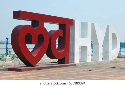 HYDERABAD,INDIA-MAY 7: Typographic installation of Hindi and English words love Hyd short form to Hyderabad on hussain sagar tankbund on May 7,2017 in Hyderabad