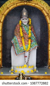 HYDERABAD,INDIA-MAY 8:Closeup of Wall art Statue of Hindu God Shirdi saibaba in a temple on May 8,2018 in Hyderabad,India