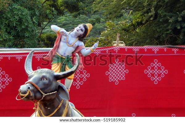 Hyderabadindianovember 17hindu God Krishna Idol Dancing